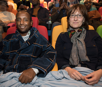 Abdul with his wife in the ICAP MediCinema at Guy's