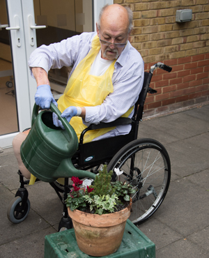 Chris Hill, a patient enjoying the gardening group