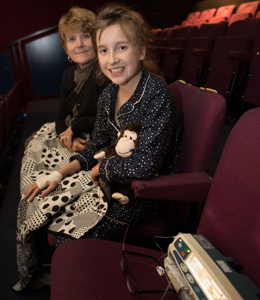 Emily enjoying the cinema at St Thomas' Hospital