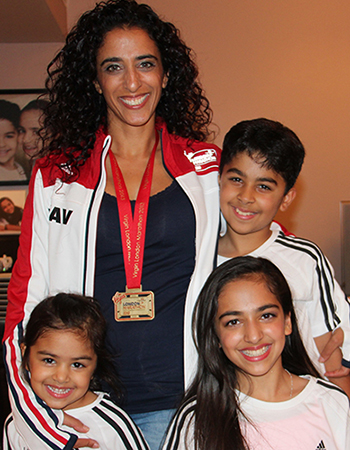 Kavita after the race with her three children