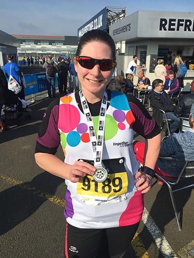 Sue after the Silverstone Half Marathon