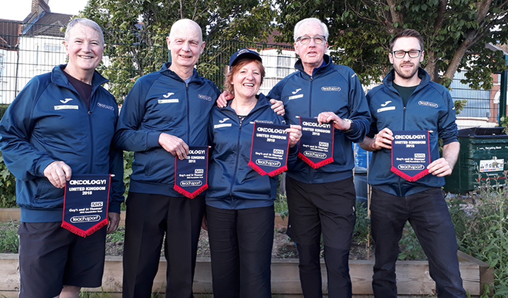 Members of Team UK who took part in the Oncology Games, L-R: Gary Hooker, Ray Kibble, Sue Gyde, John Travers with Stuart Spear, one of the physiotherapists travelling with the team.
