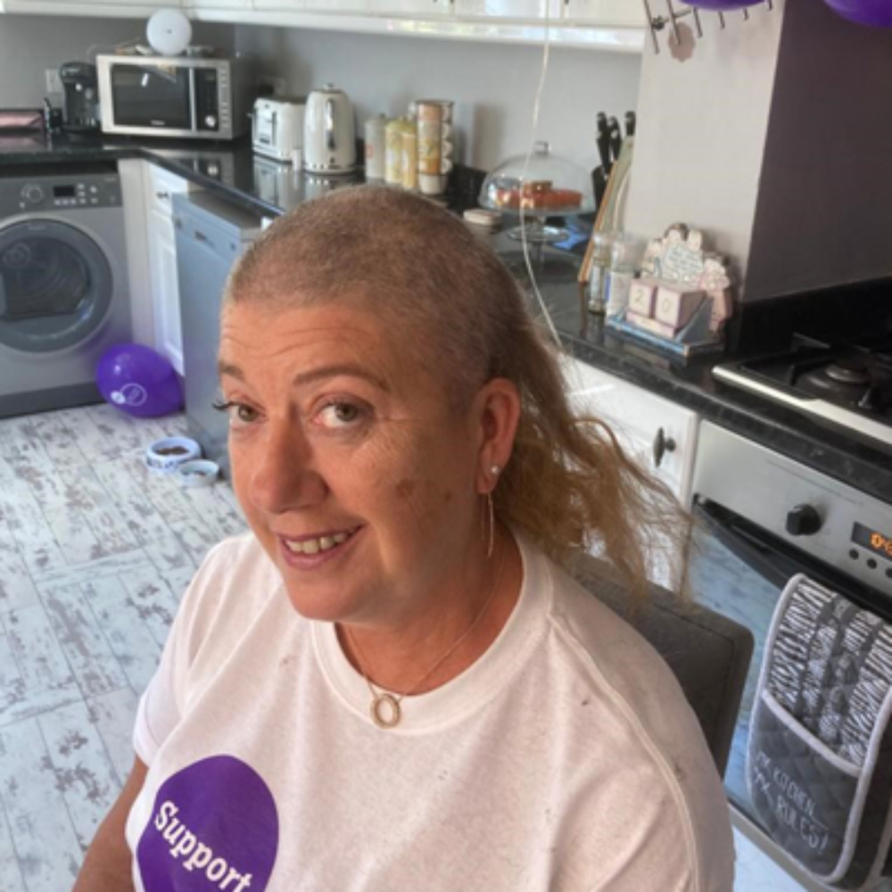 Sharon, during her head shave