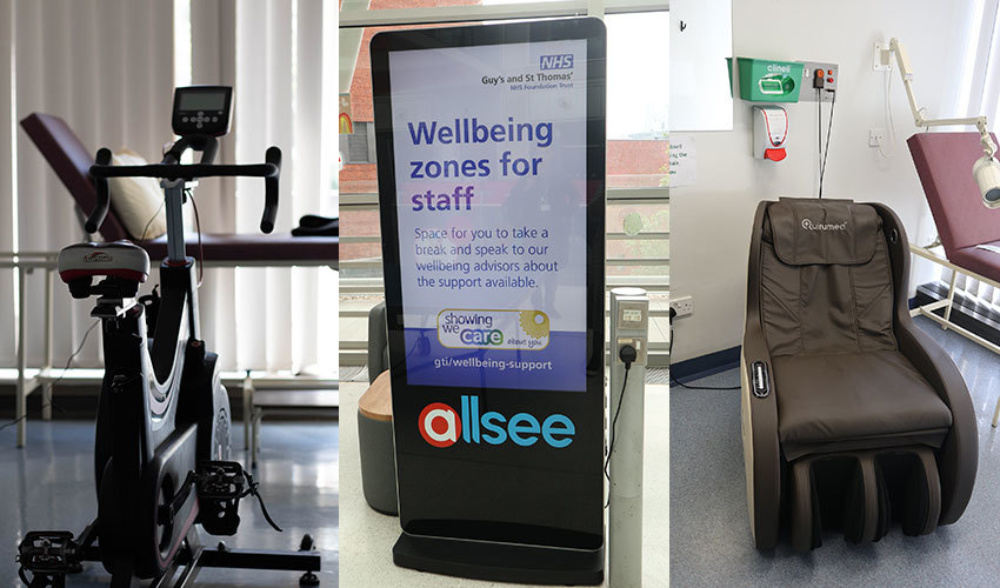 Exercise bike, a sign saying Wellbeing Zones for Staff, and an electric massage chair