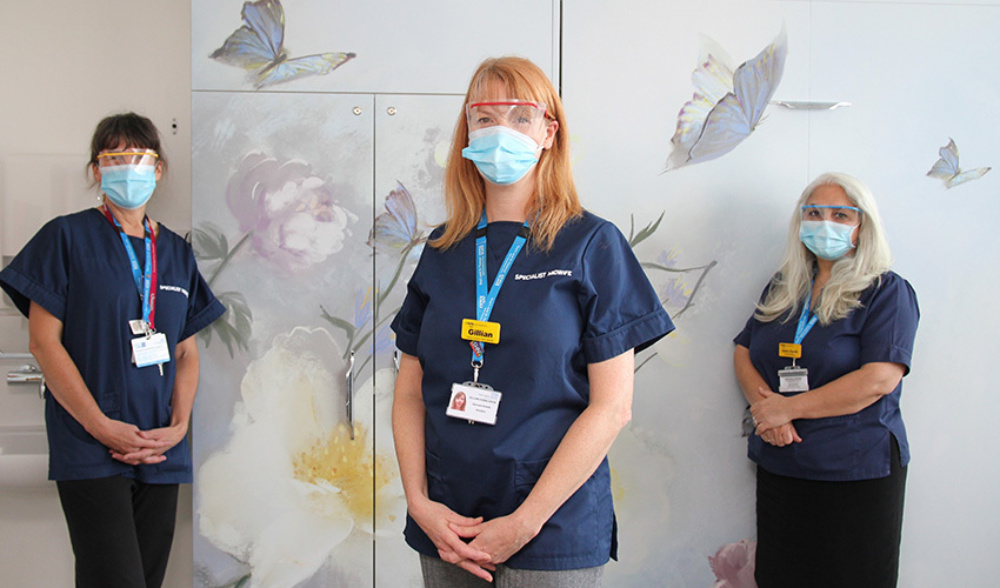 Staff at the newly refurbished Butterfly Bereavement Suite